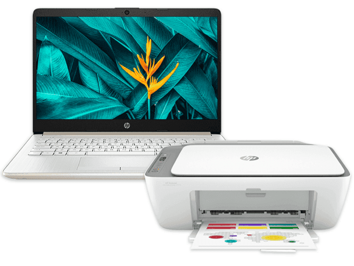 HP Laptop 14s-cf2076TU bundle with HP DeskJet Ink Advantage 2775 All-in-One Printer