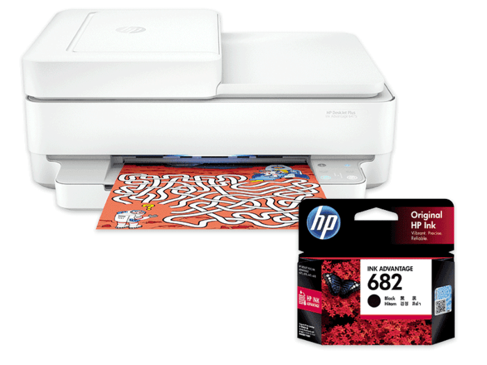 HP DeskJet Plus Ink Advantage 6475 All-in-One Printer bundle with HP 682 Black Original Ink Advantage Cartridge