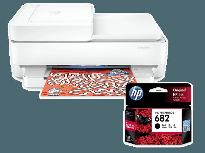 HP DeskJet Plus Ink Advantage 6475 All-in-One Printer bundle with HP 682 Black Original Ink Advantage Cartridge