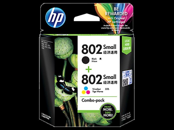 HP 802 2-pack Small Black/Tri-color Original Ink Cartridges