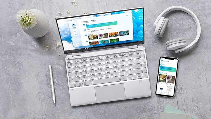 Telepon mentransfer file ke laptop HP melalui HP QuickDrop