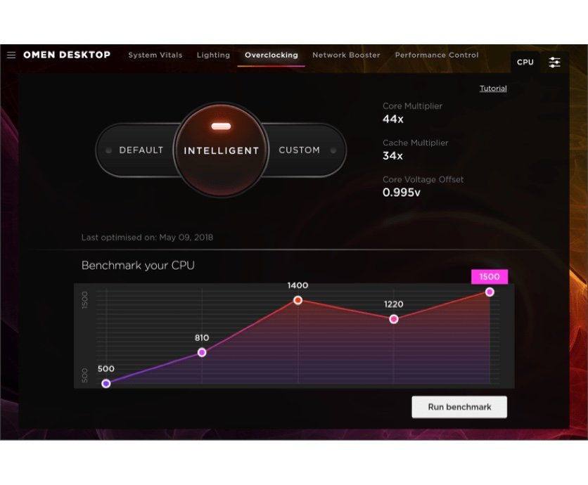 OMEN Gaming Hub software lets gamers overclock computer performance from benchmark CPU performance to improved performance (Tune)